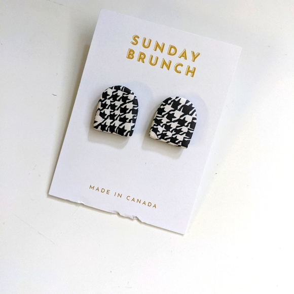 Sunday Brunch Polymer Clay Houndstooth Earrings